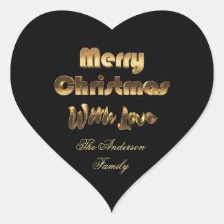 Frohe Weihnacht-Schwarz-Goldtypographie elegant Herz-Aufkleber