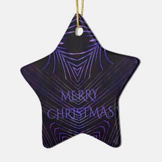 Frohe Weihnacht-Schwarz-lila Kaleidoskop-Entwurf Keramik Stern-Ornament