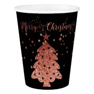 Frohe Weihnacht-schwarze und rosa schicke Entwürfe Pappbecher
