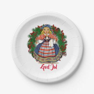 Frohe Weihnacht-schwedische Retro Puppe Gott-Juls Pappteller