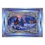 Frohe Weihnacht-Silber-Weihnachtsszene Greetng Crd Karte