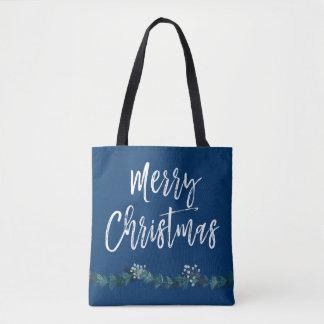 Frohe Weihnacht-Skript-Blau-Weihnachten Tasche
