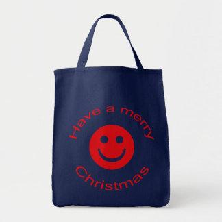 Frohe Weihnacht-smiley Tragetasche