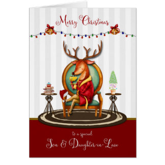 Frohe Weihnacht-Sohn und Schwiegertochter-Ren Karte