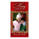 Frohe Weihnacht-Stechpalmen-Beeren-Foto-Kartenscha Personalisierte Photo Karte