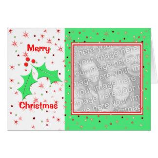 Frohe Weihnacht-Stechpalmen-Sterne (Fotorahmen) Karte