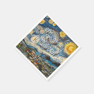 Frohe Weihnacht-sternenklare Nacht nach Van Gogh Papierservietten