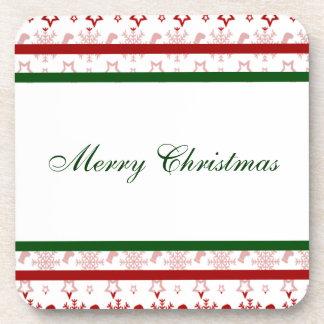 Frohe Weihnacht-Strümpfe und Schneeflocken Drink Untersetzer