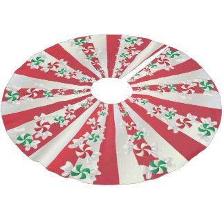 Frohe Weihnacht-Süßigkeits-Minzen Polyester Weihnachtsbaumdecke