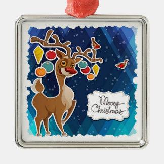 Frohe Weihnacht-tänzelndes Ren Silbernes Ornament