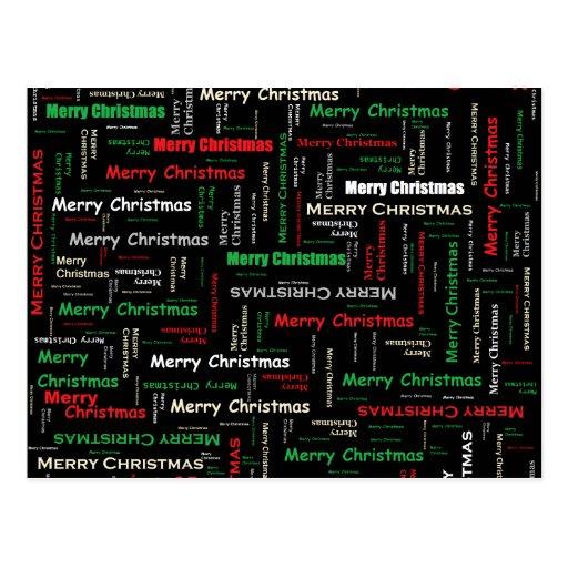 Frohe Weihnacht-Typografie-Muster Postkarten
