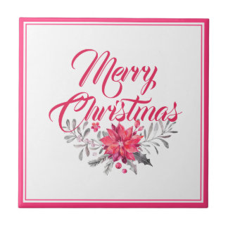 Frohe Weihnacht-Typografie u. Blumenstrauß No.2 Keramikfliese