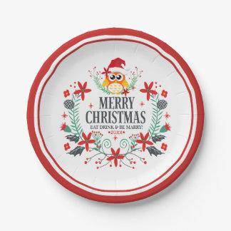 Frohe Weihnacht-Typografie u. Pappteller