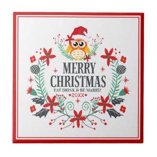 Frohe Weihnacht-Typografie-Weihnachtseulen-Kranz Keramikfliese