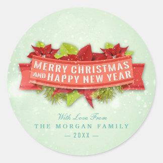 Frohe Weihnacht-u. guten Rutsch ins Neue Runder Aufkleber