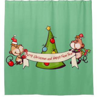 Frohe Weihnacht-und guten Rutsch ins Neue Duschvorhang