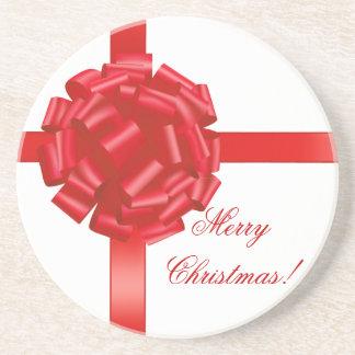 Frohe Weihnacht-Untersetzer-roter Bogen personalis
