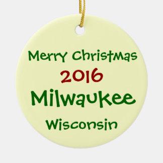 FROHE WEIHNACHT-VERZIERUNG 2016 Milwaukee Rundes Keramik Ornament