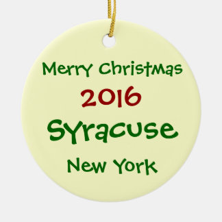 FROHE WEIHNACHT-VERZIERUNG 2016 SYRAKUS NEW YORK KERAMIK ORNAMENT