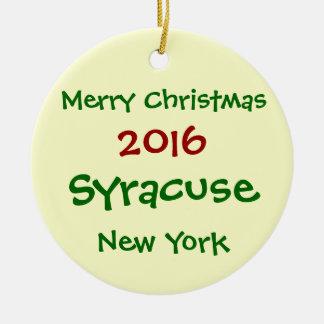 FROHE WEIHNACHT-VERZIERUNG 2016 SYRAKUS NEW YORK RUNDES KERAMIK ORNAMENT