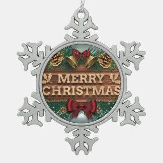 Frohe Weihnacht-Verzierung Schneeflocken Zinn-Ornament