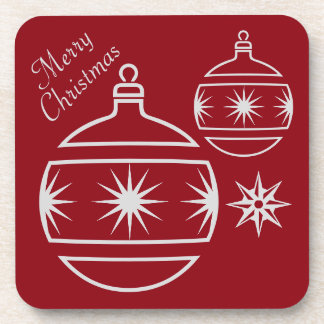Frohe Weihnacht-Verzierungen auf Rot Untersetzer
