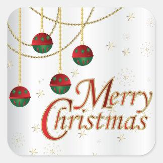 Frohe Weihnacht-Verzierungen auf Weiß Quadratischer Aufkleber