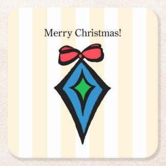 Frohe Weihnacht-Verzierungs-kundenspezifischer Rechteckiger Pappuntersetzer