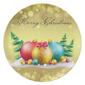 Frohe Weihnacht-Verzierungs-Melamin-Platte Flache Teller