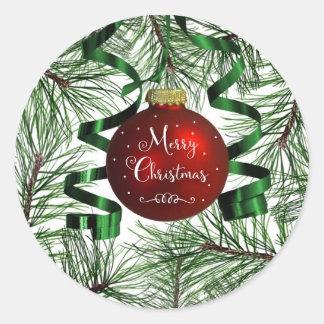 Frohe Weihnacht-Verzierungs-runde Aufkleber