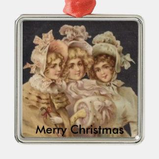 Frohe Weihnacht-viktorianische Silbernes Ornament