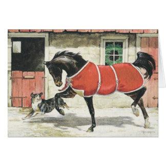 Frohe Weihnacht-Vintages Pferd und Hund Karte