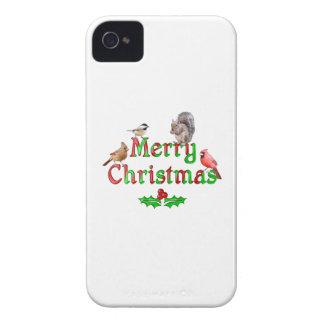 Frohe Weihnacht-Vögel und Eichhörnchen iPhone 4 Case-Mate Hülle