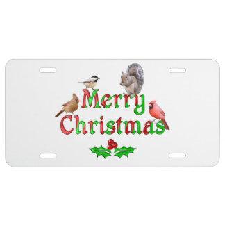 Frohe Weihnacht-Vögel und Eichhörnchen US Nummernschild