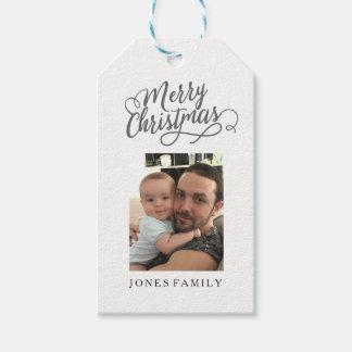 Frohe Weihnacht-Weihnachtsmann-Familien-Foto-Bild Geschenkanhänger