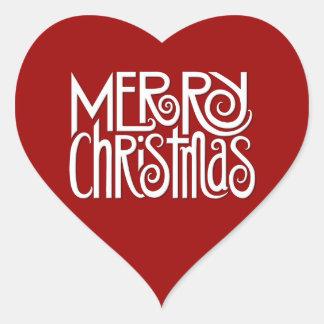 Frohe Weihnacht-weißer Herz-Aufkleber