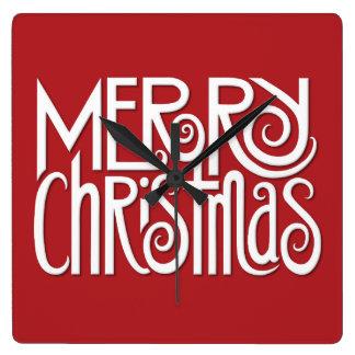 Frohe Weihnacht-weißes Quadrat-Wanduhr Quadratische Wanduhr
