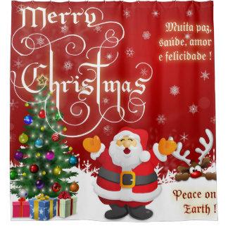 Frohe Weihnacht-Weltfrieden Duschvorhang