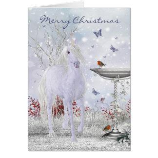 Frohe Weihnacht-Winter-Einhorn, Rotkehlchen Grußkarte