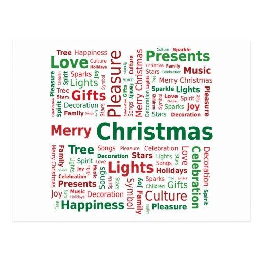 Frohe Weihnacht-Wort-Wolke in den grünen roten Postkarte