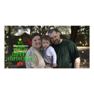 Frohe Weihnacht-Wünsche mit Familien-Foto Karte