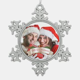 Frohe Weihnacht-Zinn-Verzierung 2016 - addieren Schneeflocken Zinn-Ornament