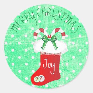 Frohe Weihnacht-Zuckerstange-Strumpf-Aufkleber Runder Aufkleber