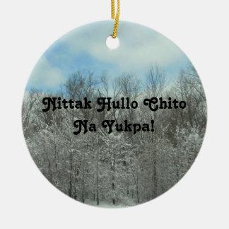 Frohe Weihnachten auf Choctaw Keramik Ornament