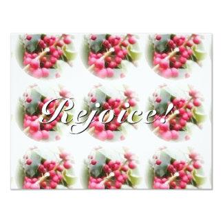 Frohe Weihnachten-Beeren-Sonnenwende-Weihnachten 10,8 X 14 Cm Einladungskarte