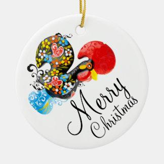 Frohe Weihnachten berühmte Hahn Barcelos Blumen06 Rundes Keramik Ornament