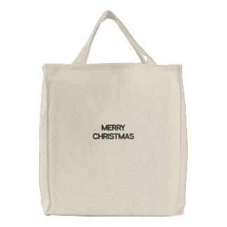 Frohe Weihnachten Bestickte Tragetasche
