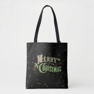 Frohe Weihnachten Bling Retro Typografie Tasche