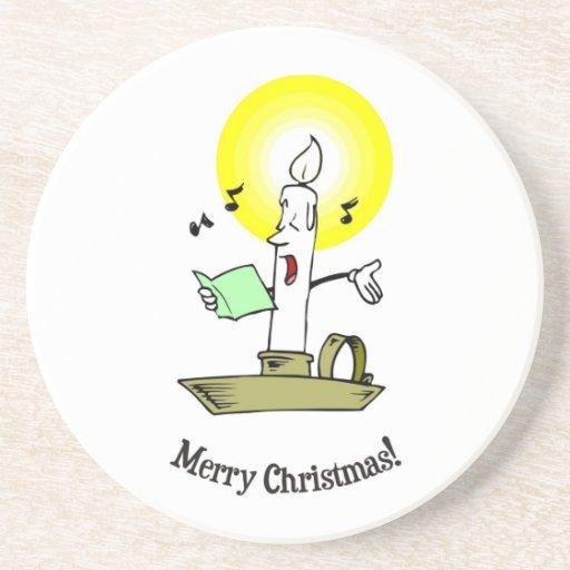 Frohe Weihnachten, brennende Kerze ein Lied singen Getränke Untersetzer