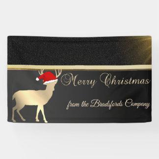 Frohe Weihnachten, Christmas Deer Santa Hat, Banner